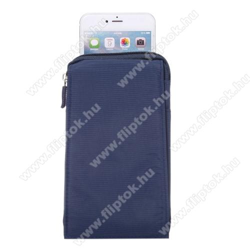 Huawei Enjoy 10Tok - álló, univerzális, zipzár, tépőzár, karabíner, övre fűzhető - KÉK - 105 x 180 x 15 mm