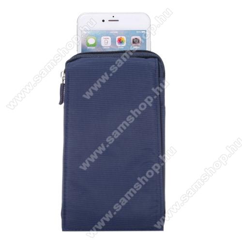 SAMSUNG SM-A260F Galaxy A2 CoreTok - álló, univerzális, zipzár, tépőzár, karabíner, övre fűzhető - KÉK - 105 x 180 x 15 mm