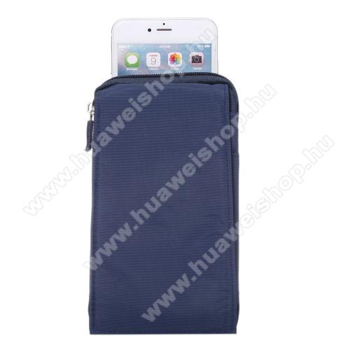 HUAWEI MediaPad T3 7.0Tok - álló, univerzális, zipzár, tépőzár, karabíner, övre fűzhető - KÉK - 105 x 180 x 15 mm
