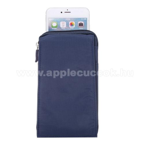 APPLE iPhone 11 ProTok - álló, univerzális, zipzár, tépőzár, karabíner, övre fűzhető - KÉK - 105 x 180 x 15 mm