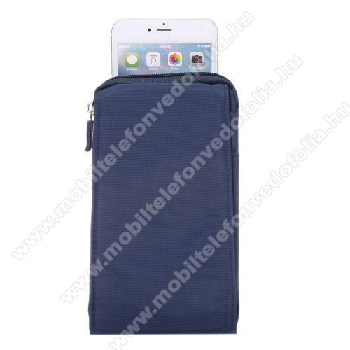 Xiaomi Poco M2 ProTok - álló, univerzális, zipzár, tépőzár, karabíner, övre fűzhető - KÉK - 105 x 180 x 15 mm