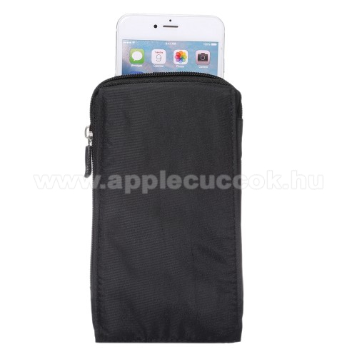 APPLE iPhone 11 ProTok - álló, univerzális, zipzár, tépőzár, karabíner, övre fűzhető - FEKETE - 105 x 180 x 15 mm