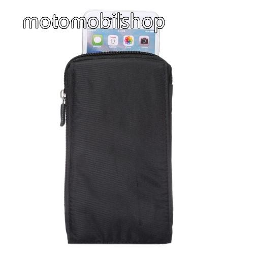 MOTOROLA Moto G5 Plus Tok - álló, univerzális, zipzár, tépőzár, karabíner, övre fűzhető - FEKETE - 105 x 180 x 15 mm