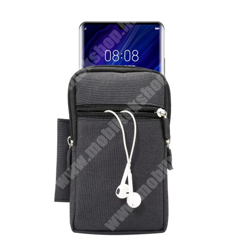 Sony Xperia X Compact (F5321) Tok - álló, univerzális, zipzár, tépőzár, karabíner, övre fűzhető, extra zseb - 170 x 100 x 25 mm - FEKETE
