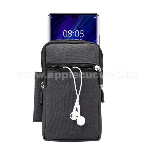 APPLE iPhone 11 Pro MaxTok - álló, univerzális, zipzár, tépőzár, karabíner, övre fűzhető, extra zseb - 170 x 100 x 25 mm - FEKETE