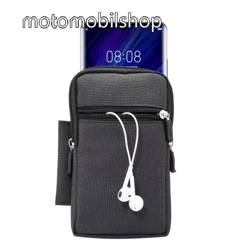 MOTOROLA Moto E4 Tok - álló, univerzális, zipzár, tépőzár, karabíner, övre fűzhető, extra zseb - 170 x 100 x 25 mm - FEKETE