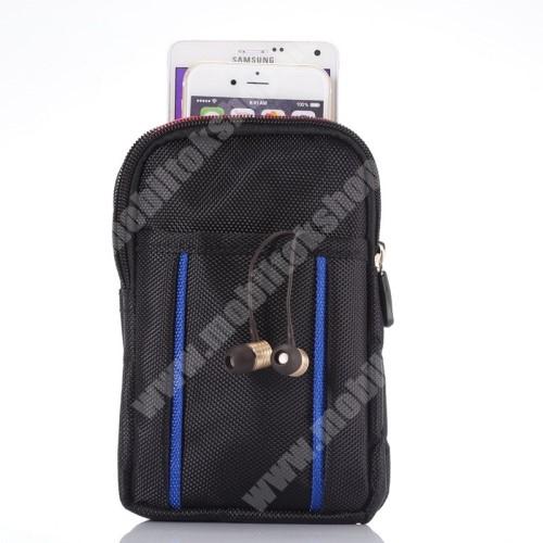 LG G4c (H525N) Tok - álló, univerzális, zipzár, tépőzár, karabiner, övre fűzhető - FEKETE / KÉK - 175 x 110 x 20mm