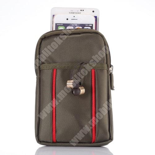 LG G4c (H525N) Tok - álló, univerzális, zipzár, tépőzár, karabiner, övre fűzhető - BARNA - 175 x 110 x 20mm