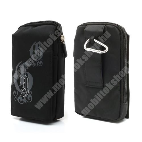Elephone P7 Tok - álló, univerzális, zipzár, tépőzár, karabíner, övre fűzhető - FEKETE - 160 x 95 mm