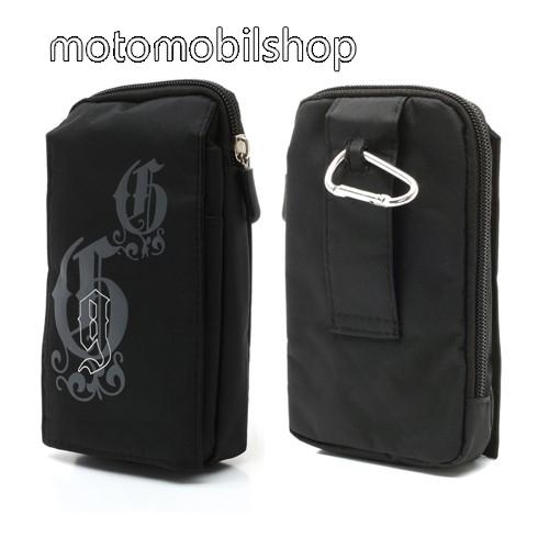 MOTOROLA Moto E4 Tok - álló, univerzális, zipzár, tépőzár, karabíner, övre fűzhető - FEKETE - 160 x 95 mm