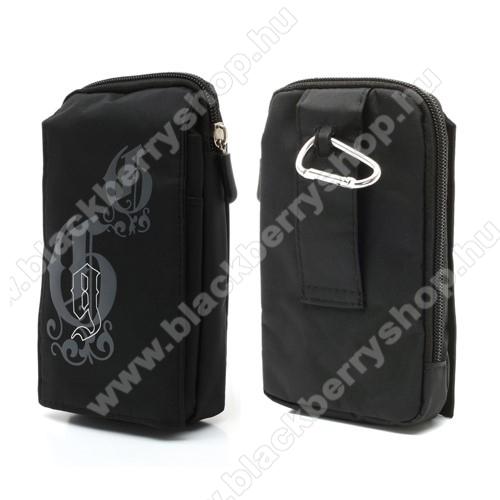 BLACKBERRY 7750Tok - álló, univerzális, zipzár, tépőzár, karabíner, övre fűzhető - FEKETE - 160 x 95 mm