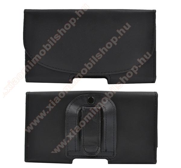 Xiaomi MI-4 LTETok fekvő, bőr - rejtett mágnescsat, övre fűzhető, övcsipesz - FEKETE