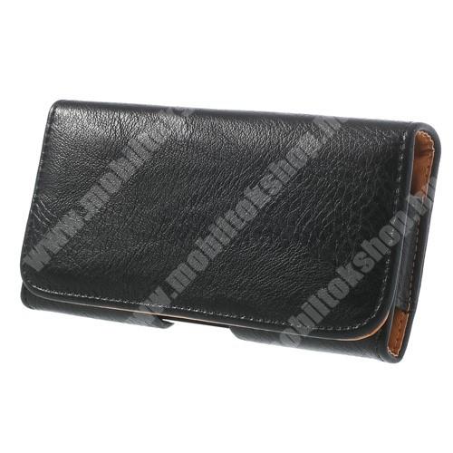 Tok fekvő, bőr - rejtett mágnescsat, övre fűzhető, övcsipesz - FEKETE - SAMSUNG SM-G900F Galaxy S5 méret - 143 x 75 x 12 mm