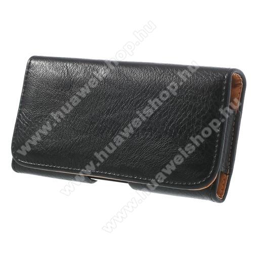 HUAWEI Honor HollyTok fekvő, bőr - rejtett mágnescsat, övre fűzhető, övcsipesz - FEKETE - SAMSUNG SM-G900F Galaxy S5 méret - 143 x 75 x 12 mm