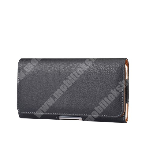 HUAWEI Honor Note 10 Tok fekvő, bőr - rejtett mágnescsat, övre fűzhető, övcsipesz - FEKETE - 180 x 95 x 18mm