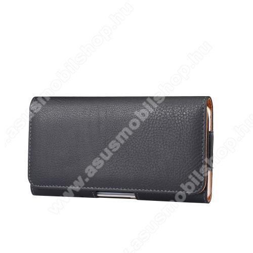 ASUS ROG Phone 3 (ZS661KS)Tok fekvő, bőr - rejtett mágnescsat, övre fűzhető, övcsipesz - FEKETE - 180 x 95 x 18mm