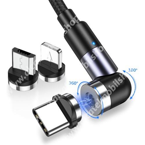 ALCATEL OT-208 TOPK AM59 mágneses adatátviteli kábel / USB töltő - 3 az 1-ben Lightning, microUSB, Type-C / USB csatlakozás, 1m, cserélhető fejekkel, szövettel bevont, derékszögű 180°-ban / 360°-ban forgatható - CSAK TÖLTÉSRE ALKALMAS ADATÁTVITELRE NEM! - FEKETE