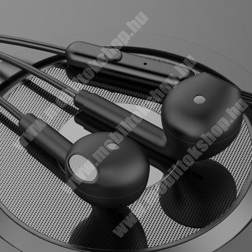 LG G4c (H525N) TOPK F17 UNIVERZÁLIS sztereo headset - 3,5mm jack csatlakozó, beépített mikrofon - FEKETE