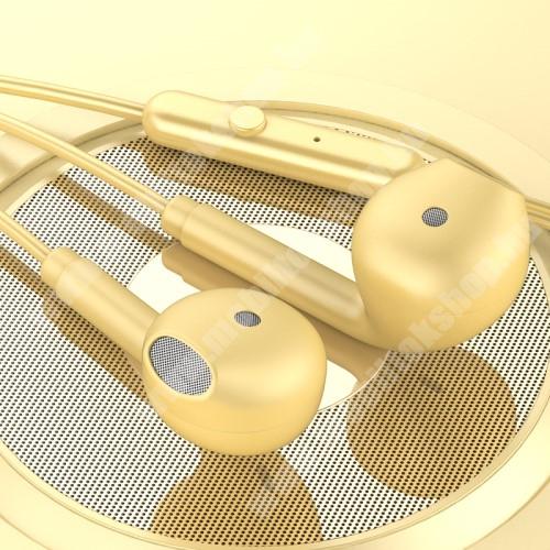LG G4c (H525N) TOPK F17 UNIVERZÁLIS sztereo headset - 3,5mm jack csatlakozó, beépített mikrofon - SÁRGA