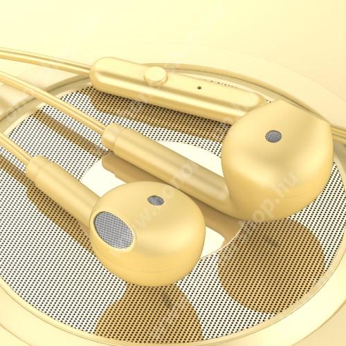 TOPK F17 UNIVERZÁLIS sztereo headset - 3,5mm jack csatlakozó, beépített mikrofon - SÁRGA