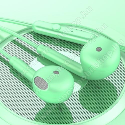 TOPK F17 UNIVERZÁLIS sztereo headset - 3,5mm jack csatlakozó, beépített mikrofon - ZÖLD