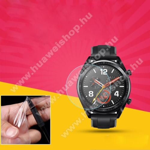 HUAWEI Watch GTTPU képernyővédő fólia - CLEAR - 1db, törlőkendővel - A TELJES ELŐLAPOT VÉDI! - HUAWEI Watch GT