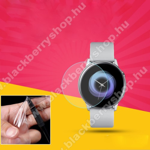 TPU képernyővédő fólia - CLEAR - 1db, törlőkendővel - A TELJES ELŐLAPOT VÉDI! - SAMSUNG SM-R500 Galaxy Watch Active