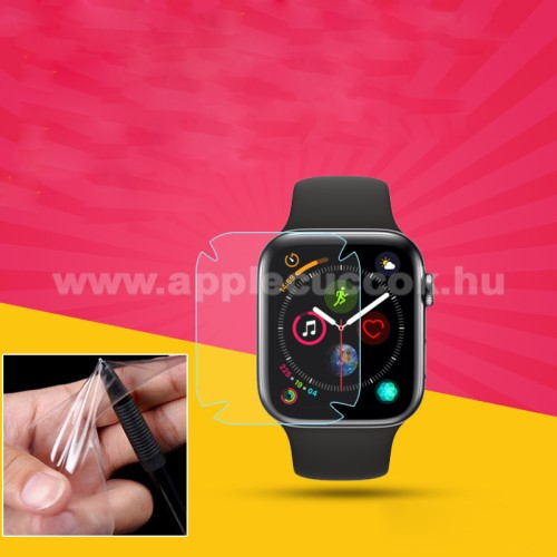 Apple Watch Series 5 40mmTPU okosóra képernyővédő fólia - CLEAR - 1db, törlőkendővel - A TELJES ELŐLAPOT VÉDI! - APPLE Watch Series 4 40mm / APPLE Watch Series 5 40mm