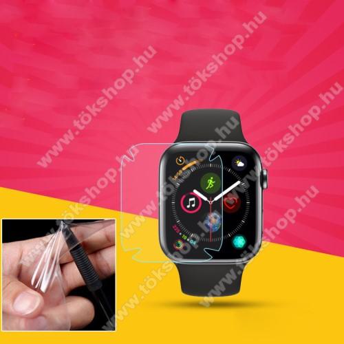 TPU okosóra képernyővédő fólia - CLEAR - 1db, törlőkendővel - A TELJES ELŐLAPOT VÉDI! - APPLE Watch Series 4 44mm / APPLE Watch Series 5 44mm