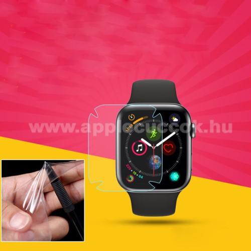 Apple Watch Series 5 44mmTPU okosóra képernyővédő fólia - CLEAR - 1db, törlőkendővel - A TELJES ELŐLAPOT VÉDI! - APPLE Watch Series 4 44mm / APPLE Watch Series 5 44mm