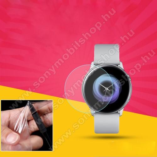 TPU okosóra képernyővédő fólia - CLEAR - 1db, törlőkendővel - A TELJES ELŐLAPOT VÉDI! - SAMSUNG SM-R500 Galaxy Watch Active