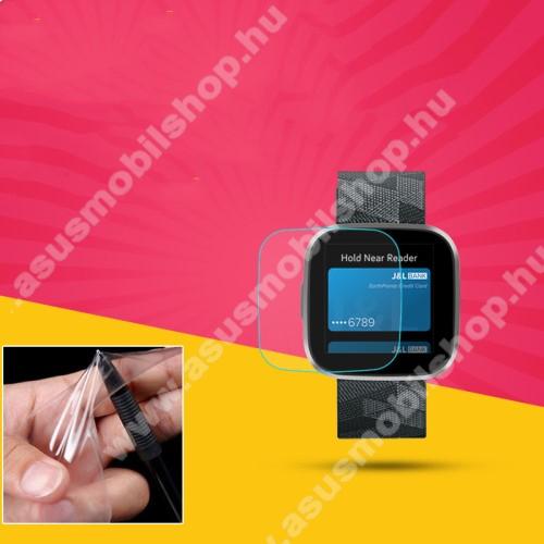 TPU okosóra képernyővédő fólia - CLEAR - 1db, törlőkendővel - A TELJES ELŐLAPOT VÉDI! - Fitbit Versa 2