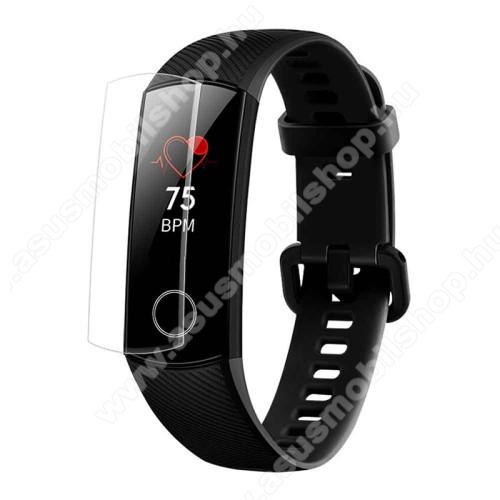 TPU okosóra képernyővédő fólia - CLEAR - 1db, törlőkendővel - A TELJES ELŐLAPOT VÉDI! - Huawei Honor Band 5