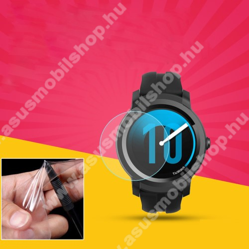 TPU okosóra képernyővédő fólia - CLEAR - 1db, törlőkendővel - A TELJES ELŐLAPOT VÉDI! - TicWatch E2