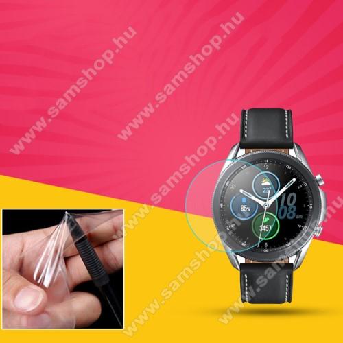 TPU okosóra képernyővédő fólia - CLEAR - 1db, törlőkendővel - A TELJES ELŐLAPOT VÉDI! - SAMSUNG Galaxy Watch3 45mm (SM-R845F)