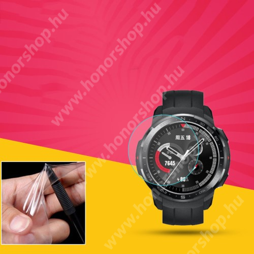 HUAWEI Honor Watch GS Pro TPU okosóra képernyővédő fólia - CLEAR - 1db, törlőkendővel - A TELJES ELŐLAPOT VÉDI! - HUAWEI Honor Watch GS Pro