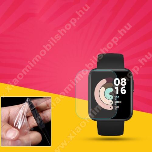 TPU okosóra képernyővédő fólia - CLEAR - 1db, törlőkendővel - A TELJES ELŐLAPOT VÉDI! - Xiaomi Mi Watch Lite / Xiaomi Redmi Watch