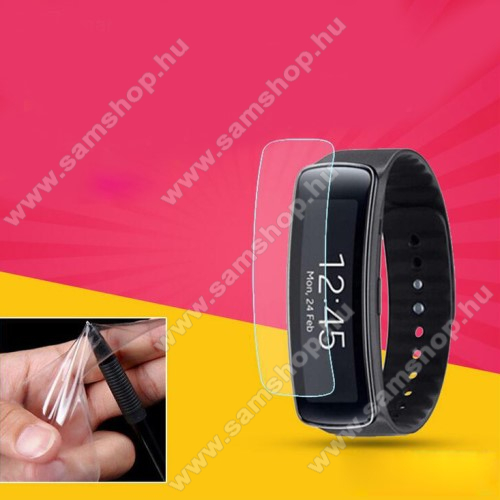 SAMSUNG Galaxy Gear Fit Smart Watch (SM-R350)TPU okosóra képernyővédő fólia - CLEAR - 1db, törlőkendővel - A TELJES ELŐLAPOT VÉDI! - SAMSUNG Galaxy Gear Fit (SM-R350)