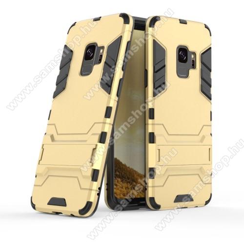 TRANSFORM műanyag védő tok / hátlap - ARANY - szilikon betétes, kitámasztható - ERŐS VÉDELEM! - SAMSUNG SM-G960 Galaxy S9