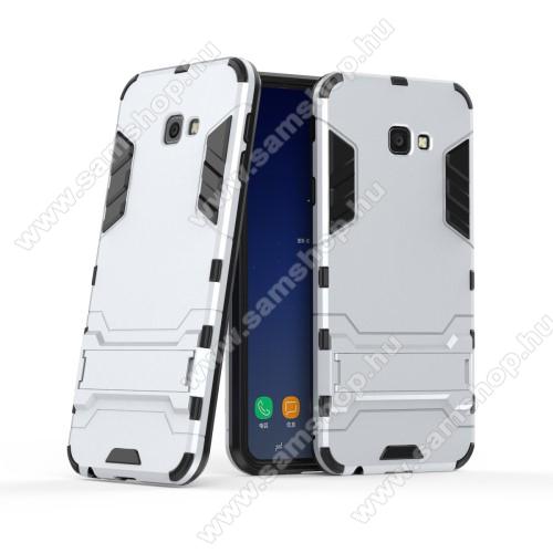 TRANSFORM műanyag védő tok / hátlap - EZÜST - szilikon betétes, kitámasztható - ERŐS VÉDELEM! - SAMSUNG SM-J415F Galaxy J4+