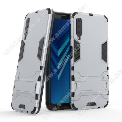 TRANSFORM műanyag védő tok / hátlap - EZÜST - szilikon betétes, kitámasztható - ERŐS VÉDELEM! - SAMSUNG SM-A750F Galaxy A7 (2018)
