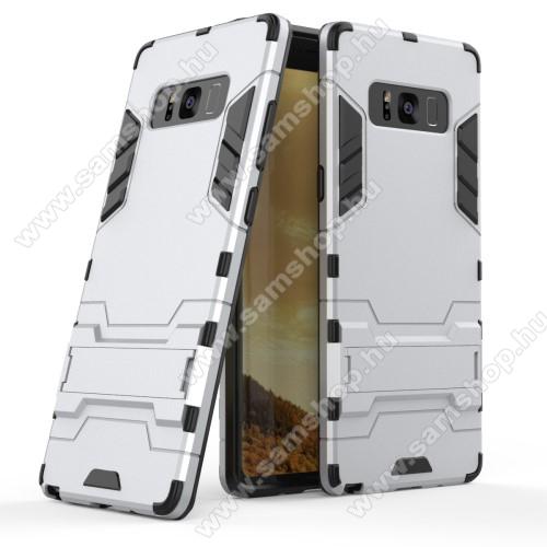 TRANSFORM műanyag védő tok / hátlap - EZÜST - szilikon betétes, kitámasztható - ERŐS VÉDELEM! - SAMSUNG SM-N950F Galaxy Note8