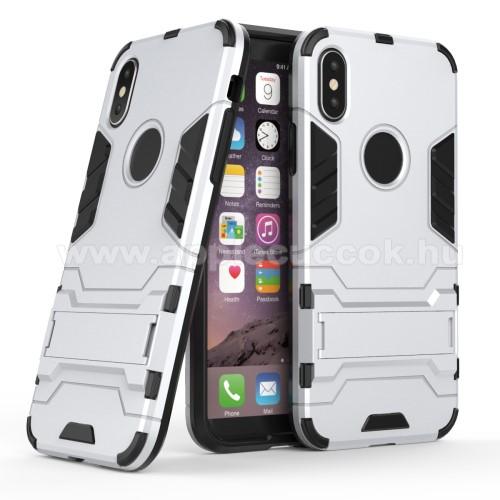 TRANSFORM műanyag védő tok / hátlap - EZÜST - szilikon betétes, kitámasztható - ERŐS VÉDELEM! - APPLE iPhone X / APPLE iPhone XS
