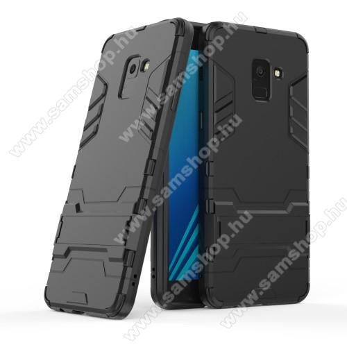 TRANSFORM műanyag védő tok / hátlap - FEKETE - szilikon betétes, kitámasztható - ERŐS VÉDELEM! - SAMSUNG SM-A730F Galaxy A8 Plus (2018)