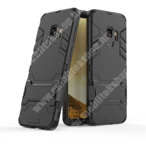 TRANSFORM műanyag védő tok / hátlap - FEKETE - szilikon betétes, kitámasztható - ERŐS VÉDELEM! - SAMSUNG SM-G960 Galaxy S9
