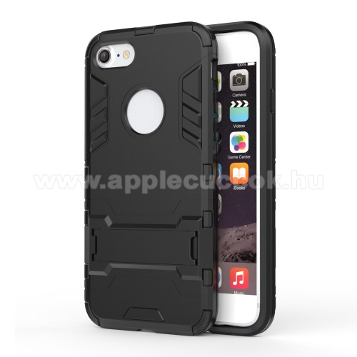 TRANSFORM műanyag védő tok / hátlap - FEKETE - szilikon betétes, kitámasztható - ERŐS VÉDELEM! - APPLE iPhone 7 (4.7)  / APPLE iPhone 8 (4.7)