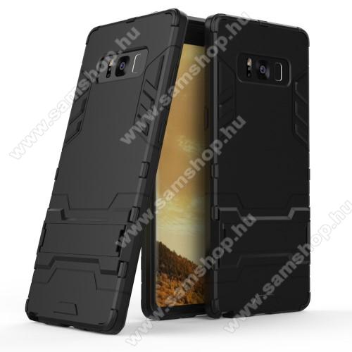 TRANSFORM műanyag védő tok / hátlap - FEKETE - szilikon betétes, kitámasztható - ERŐS VÉDELEM! - SAMSUNG SM-N950F Galaxy Note8