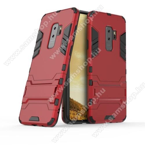 TRANSFORM műanyag védő tok / hátlap - PIROS - szilikon betétes, kitámasztható - ERŐS VÉDELEM! - SAMSUNG SM-G965 Galaxy S9+