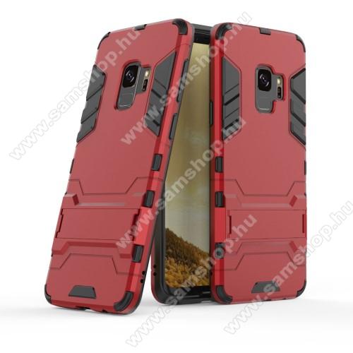 TRANSFORM műanyag védő tok / hátlap - PIROS - szilikon betétes, kitámasztható - ERŐS VÉDELEM! - SAMSUNG SM-G960 Galaxy S9