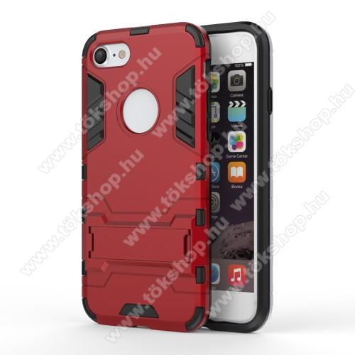 TRANSFORM műanyag védő tok / hátlap - PIROS - szilikon betétes, kitámasztható - ERŐS VÉDELEM! - APPLE iPhone 7 (4.7)  / APPLE iPhone 8 (4.7)